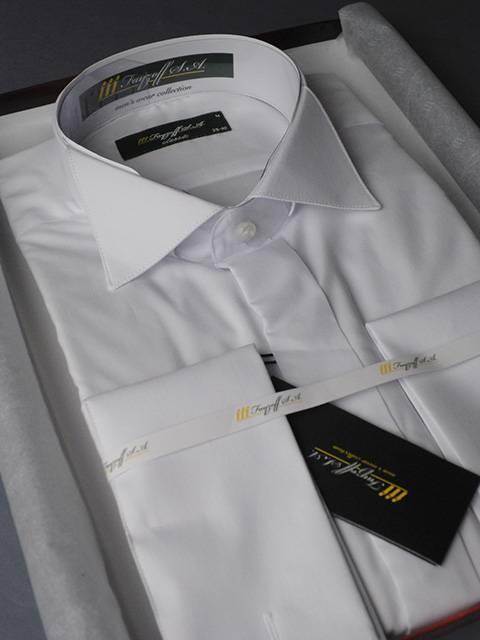 c4d1431fc05cebd Белая приталенная рубашка под бабочку, под запонки арт, 1022sza-01